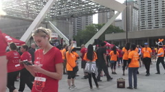 Scotiabank Rat Race for United Way 2015 Participants at Nathan Phillips Square Stock Footage