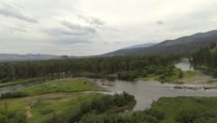 Flight over Kelly Island in Missoula Montana Stock Footage