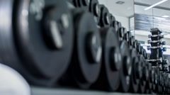Iron heavy equipment for training in gym Stock Footage