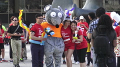Mascot at Scotiabank Rat Race for United Way 2015 - stock footage