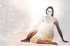 Composite image of fit woman doing the half spinal twist pose in fitness studio Stock Illustration