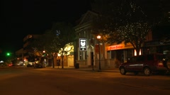 Stock Video Footage of late night small town main street