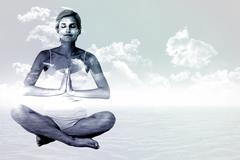 Stock Illustration of Composite image of fit woman doing yoga