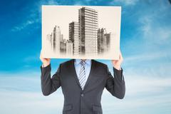 Stock Illustration of Composite image of businessman hiding head with a box