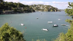 Salcombe Devon England UK view of the Kingsbridge Estuary Stock Footage