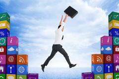 Composite image of businessman leaping with his briefcase - stock illustration