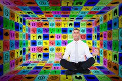 Composite image of zen businessman meditating in lotus pose - stock illustration