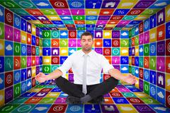 Stock Illustration of Composite image of businessman meditating in lotus pose