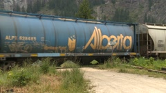Railroad, grain cars at rural mountain crossing end unit AC4400 locomotive Stock Footage