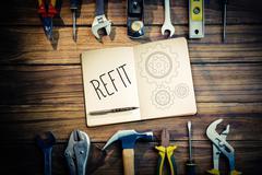 Refit against blueprint - stock photo