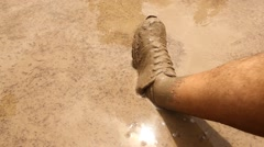 Male Leg in the Mud water Stock Footage