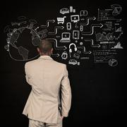 Stock Illustration of Composite image of thinking businessman