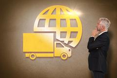 Composite image of thoughtful mature businessman posing - stock illustration