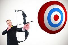 Composite image of concentrated businessman shooting a bow and arrow Stock Illustration
