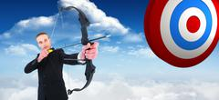 Composite image of concentrated businessman shooting a bow and arrow - stock illustration