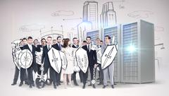 Stock Illustration of Composite image of corporate army