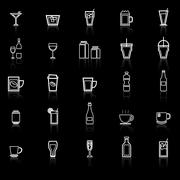 Drink line icons with reflect on black - stock illustration