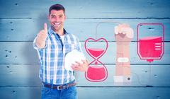 Composite image of confident manual worker gesturing thumbs up Stock Illustration