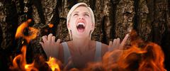 Stock Illustration of Composite image of upset woman screaming with hands up