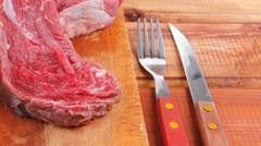 Savory: fresh uncooked beef fillet Stock Footage