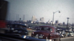 (8mm Vintage) 1950 Highway Driving Into St. Louis. USA Stock Footage