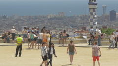 The main terrace of Park Guell, Barcelona Stock Footage