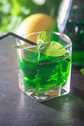 Green mojito cocktail . tarragon - stock photo