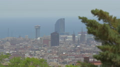 Cityscape of Barcelona with the W Barcelona building Stock Footage