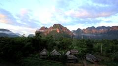 Morning at Village in Vang Vieng, Laos Stock Footage
