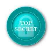 Top secret icon. Internet button on white background. - stock illustration