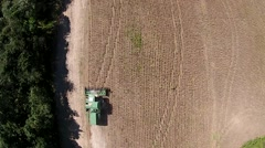 Soybean harvest aerial Stock Footage