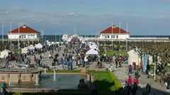 Tourists in Sopot, Poland - timelapse Stock Footage