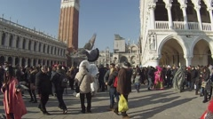 Carnival Venice, Piazza San Marco. Traditional holiday. Stock Footage