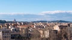 Panorama of Rome, view from the Giardino degli Aranci. Italy. Time Lapse. Stock Footage