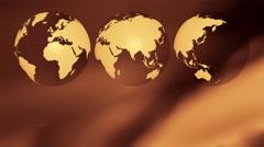 Worldwide business three world globes background Stock Footage