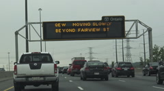 Traffic Jam at QEW, Queen Elizabeth Highway, Ontario Stock Footage