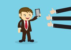 Businessman Selling Mobile Phone to Positive Reviews Stock Illustration