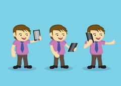 Cute Male Cartoon Character with Necktie and Wireless Digital Tablet - stock illustration