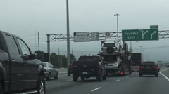 A Tractor Unit With A Car Carrier Trailer On Highway In Ontario Stock Footage