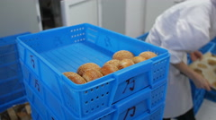 Stacking Bread Buns In Crates Stock Footage