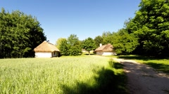 Old village in Tokarnia open-air museum, Poland Stock Footage