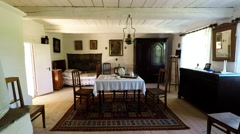 Inside the old cottage in Tokarnia open-air museum, Poland Stock Footage