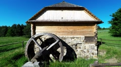 Watermill from Parszow in Tokarnia open-air museum, Poland Stock Footage