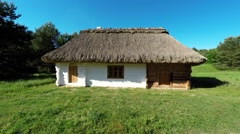 Old cottage in Tokarnia open-air museum, Poland Stock Footage