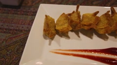 gourmet deep fried wontons - stock footage