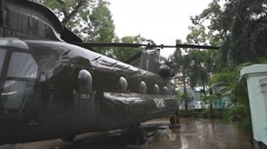 Stock Video Footage of us war helicopter at war remnants museum