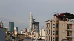 Saigon daytime skyline with bitexco financial center Stock Footage