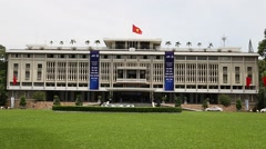 sunny day front of reunification palace - stock footage