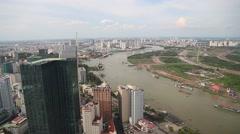 Aerial tilt - saigon river Stock Footage
