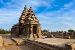 Shore temple - World  heritage site in  Mahabalipuram, Tamil Nad - stock photo
